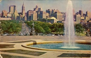 The Benjamin Franklin Parkway, Philadelphia, PA on a postcard dated Jan. 28, 1955.