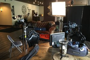 A photo showing the GMA Interview Set-Up in the Lobby of the Chestnut Boutique Hotel, Morgantown, WV on May 17, 2016