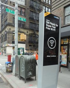 Photo showing typical LinkNYC unit at the corner of 3rd Avenue and E 16th Street in New York City.