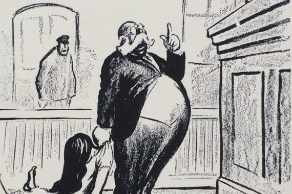 """""""Your Honor, This Woman Gave Birth to a Naked Child!"""" Robert Minor, Cartoon of Anthony Comstock (1915)"""