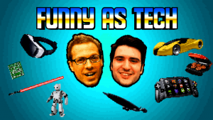 Funny as Tech Logo, featuring David Ryan Polgar and Joe Leonardo