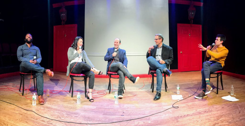 [L to R] Baratunde Thurston, Anneka Jong, Scott Hartley, David Ryan Polgar, and Joe Leonardo -- Funny as Tech, November 7, 2017